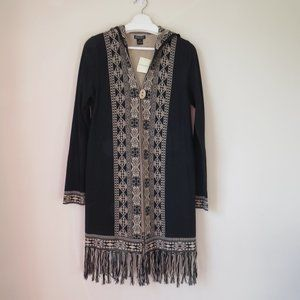 Lucky Brand Aztec Fringed Long Hooded Cardigan NWT
